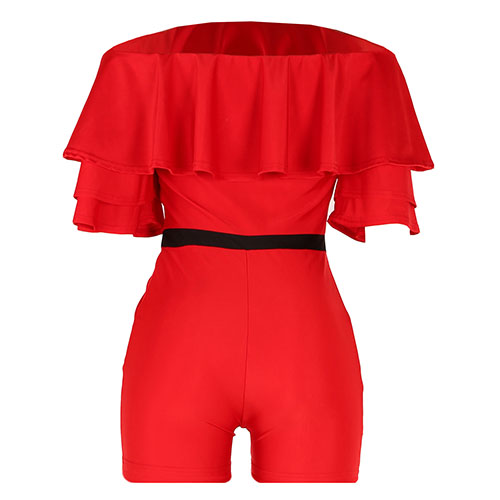Moda Dew Hombro Falbala Diseño Rojo Knitting Mono Delgado Chalecos
