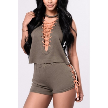 Green Cotton Shorts Solid O neck Short Sleeve Sexy Two Pieces