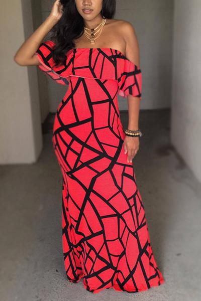 Encantadora manga de cuello de manga corta Falbala diseño de fibra de leche roja vaina vestido de tobillo de longitud