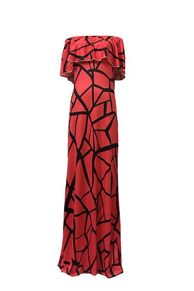Encanto Bateau Pescoço Manga Curta Falbala Design Red Leite Fibra bainha vestido de comprimento do tornozelo