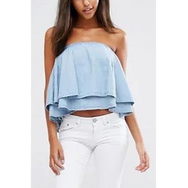 Trendy Bateau Neck Sleeveless Falbala Design Blue Denim Shirts