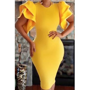 Healthy Fabric Fashion O neck Short Sleeve Sheath Knee Length Dresses