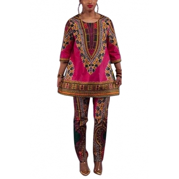 Ethnic Style Round Neck Long Sleeves Totem Printed Rose Gold Qmilch Two-piece Pants Set