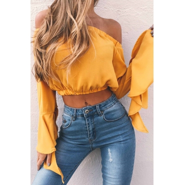 Charming Bateau Neck Long Sleeves Falbala Design Yellow Chiffon Shirts