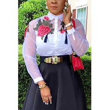 Cardigan Cotton Blends V Neck Long Sleeve Print Blouses&Shirts