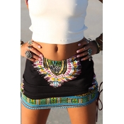 Ethnic Style Elastic Waist Printed Black Cotton Blend Mini Skirts