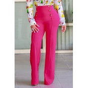 Stylish High Waist Double-breasted Design Rose Red Polyester Pants