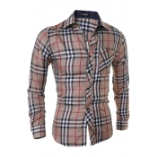 Stylish Turndown Collar Long Sleeves Plaids Khaki Cotton Shirts