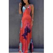 Polyester Sexy V Neck Sleeveless Ankle Length Dresses
