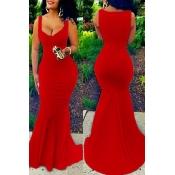 Платье длиной до пола, оболочка из эластичного шелка Eurarianan U-shaped, без рукавов, из красного хлопка