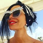 Fashion Rhinestone Decorative See-Through Metal Sunglasses