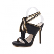 Trendy Point Peep Toe Chain Decorative Stiletto Su