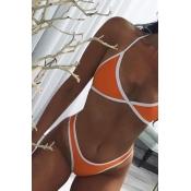 Euramerican Orange-white Patchwork Cotton Blends Two-piece Swimwear
