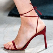 Fashion Pointe Toe Lace-up Hollow-out Super High H