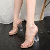 Plastic Chunky Sandálias Super Alta Moda