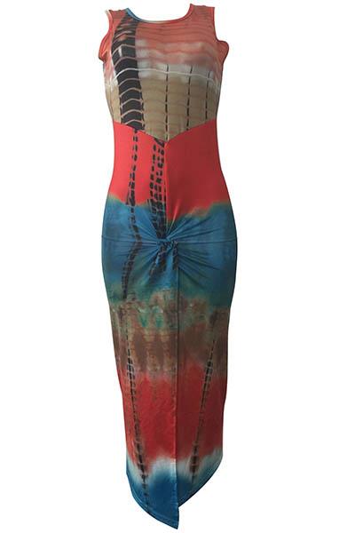 Longitud del vestido bohemio sin mangas de cuello redondo plisado Impreso Rayón tobillo