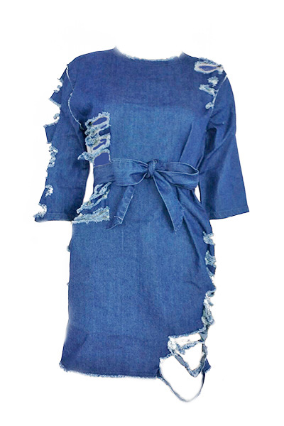 Leisure Round Neck Half Sleeves Blue Denim Mini Dress (With Belt)