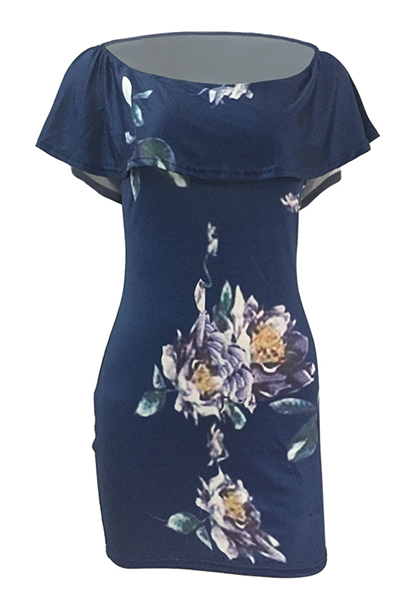 Sexy Bateau Neck Short Sleeves Floral Print Blue Qmilch Sheath Mini Dress