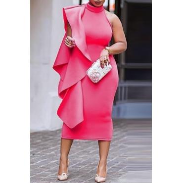 Twilled Satin Moda Mandarina Collar sin mangas asimétrica mediados de vestidos de pantorrilla