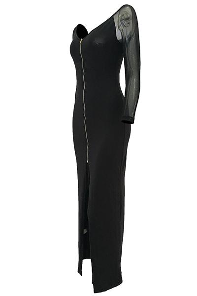 Vestido de manga larga con encaje en cuello en V de gasa