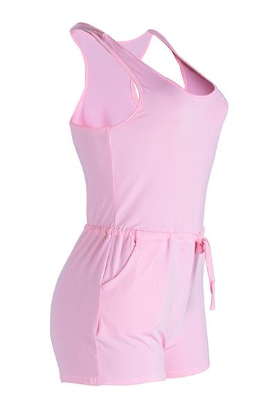 Ocio en forma de U correa de cuello de diseño rosa Qmilch una sola pieza flaca mono