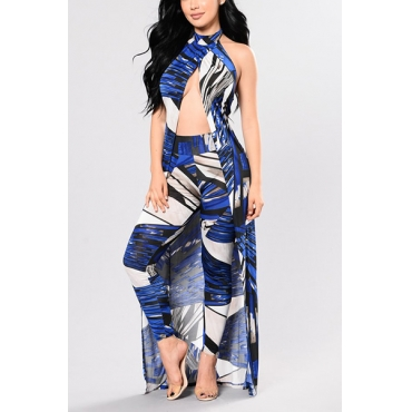 Stylish Sleeveless Printed Hollow-out Blue Two-piece Pants Set