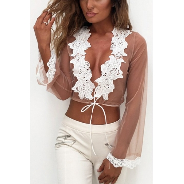 Sexy V Neck Long Sleeves Lace Trim Patchwork Polyester Shirts
