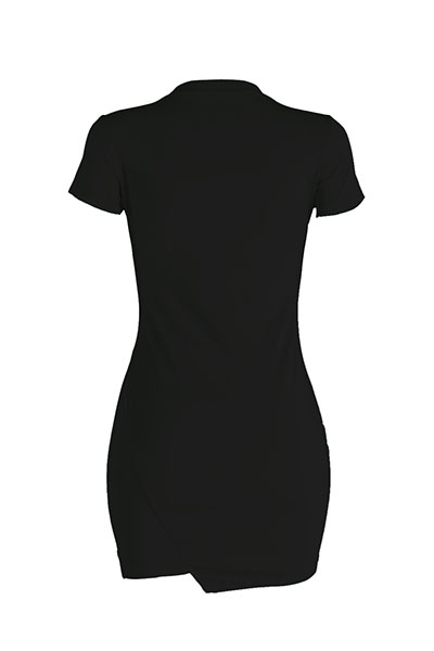 Leisure Round Neck Short Sleeves Broken Holes Black Polyester Mini Dress