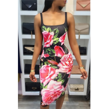 Charming U-shaped Neck Sleeveless Floral Print Milk Fiber Sheath Knee Length Dress