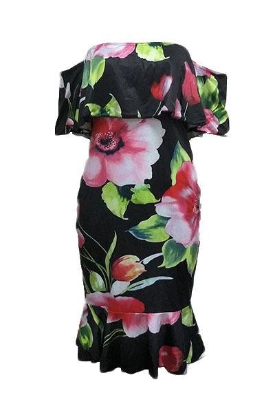 Charmante Tau-Schulter-Blumendruck Gesundes Gewebe-Hülle Knielänge Kleid