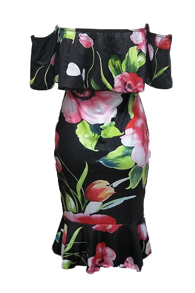 Очаровательная роса плеча Цветочная печать Здоровое платье длиной до колен Платье