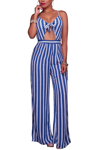 Sexy V Neck Spaghetti Straps Sleeveless Striped Dark Blue Healthy Fabric One-piece Jumpsuits