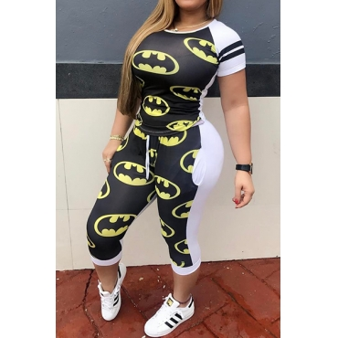 Leisure Round Neck Short Sleeves Patchwork Black Qmilch Two-piece Pants Set