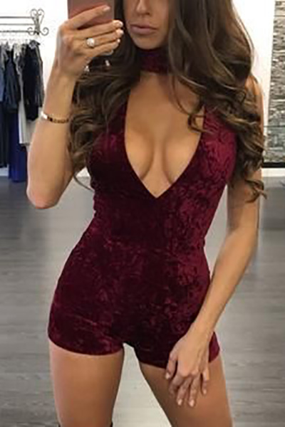 Sexy Deep V Neck Wine Red Blending One-piece Skinny Jumpsuits