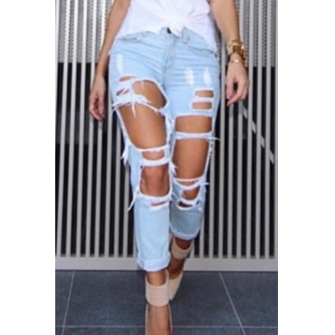 Elegante Cintura Alta Agujeros rotos Azul Claro Denim Jeans