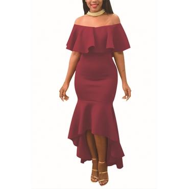 Charming Dew Shoulder Falbala Design Wine Red Polyester Ankle Length Dress