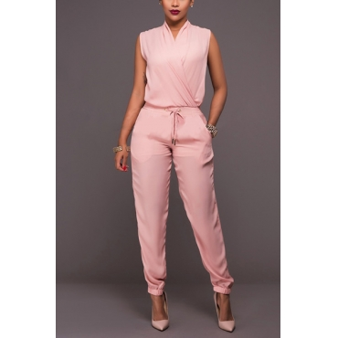 Trendy V Neck Tank Sleeveless Pink Linen One-piece Jumpsuits
