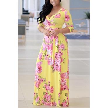 Charming V Neck Floral Print Yellow Milk Fiber Floor Length Dress