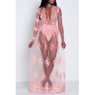 Sexy V Neck Long Sleevs See-Through Pink Chiffon Floor Length Dress
