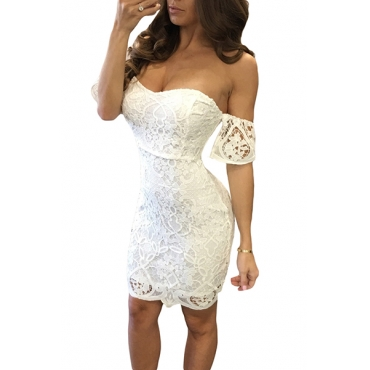 Charming Dew Shoulder Short Sleeves White Lace Sheath Mini Dress