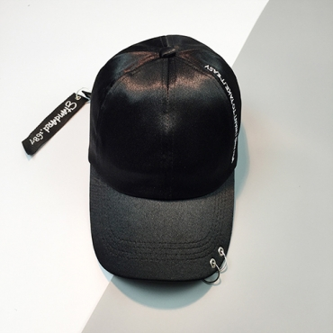 Fashion Letters Printed Black Polyester Hat