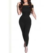 Sexy Dew Shoulder Bow-Tie Decoration Black Blending One-piece Jumpsuits