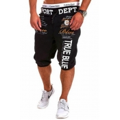 Leisure Elastic Waist Letters Printed Black Cotton Blends Shorts