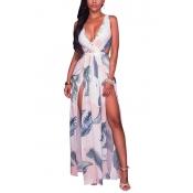 Trendy V Neck Sleeveless Printed High Split White