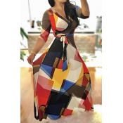 Stylish V Neck Three Quarter Sleeves Printed Black Healthy Fabric Ankle Length Dress (With Belt)