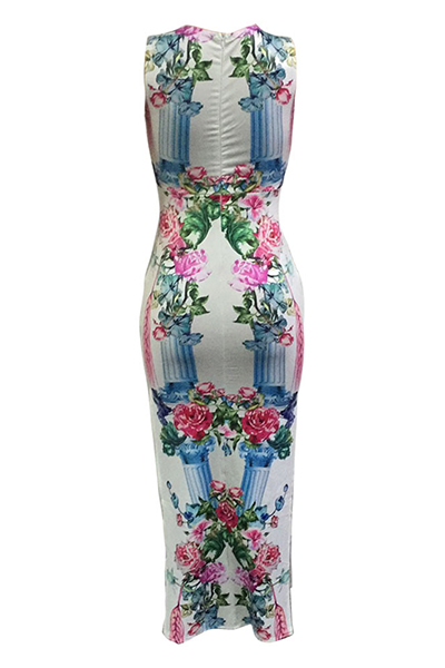Stylish Round Neck Spaghetti Strap Sleeveless Floral Print Qmilch Sheath Ankle Length Dress