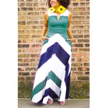 Longitud del vestido de Bohemia con cuello en V sin mangas a rayas azul Impreso Poliester Tobillo