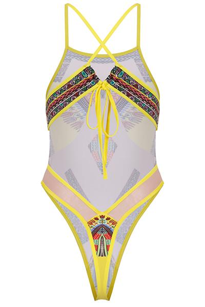 Sexy Printed See-Through Yellow Polyester One-piece Swimwear(Without Choker)