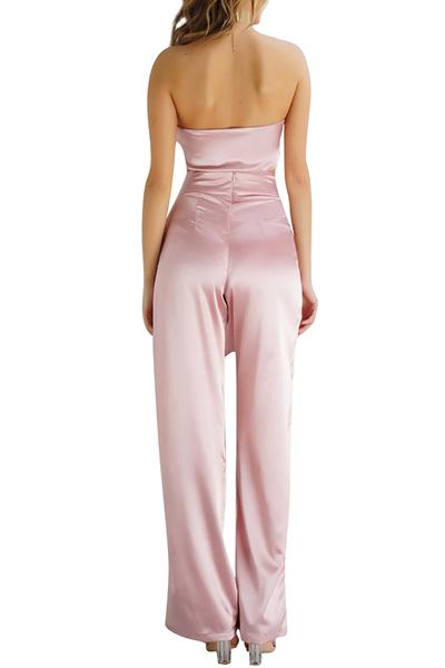 Розовые атласные штаны Твердые шеи Бато без рукавов Сексуальная две части
