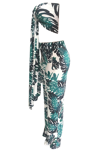 Stylish Dew Shoulder Printed Green Qmilch Two-piece Pants Set